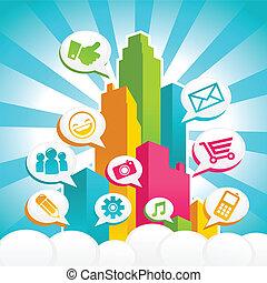 Colorful Social Media City