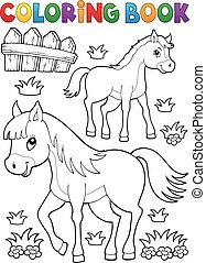 Coloring book horse with foal theme 1