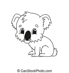 Coloring book pages for kids. Cute cartoon vector illustration.