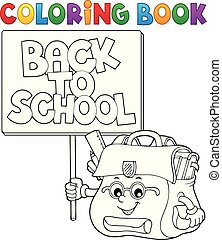 Coloring book schoolbag with sign