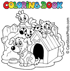 Coloring book with domestic animals