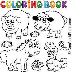 Coloring book with farm animals