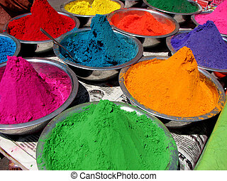 Colors for sale on the festive occasion of holi in India