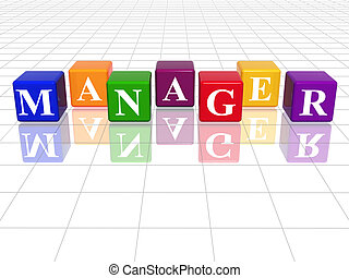 3d colour cubes with text - manager, word, with reflection