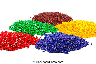 Colourful plastic polymer granules isolated on white