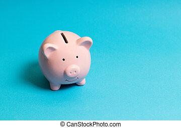 Commercial concept. Piggy bank on blue background.