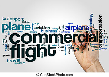 Commercial flight word cloud concept on grey background