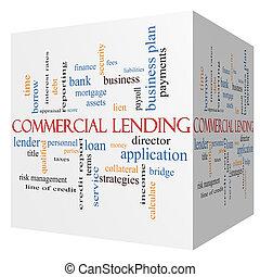 Commercial Lending 3D cube Word Cloud Concept