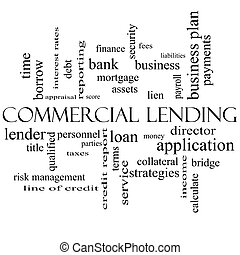 Commercial Lending Word Cloud Concept in black and white