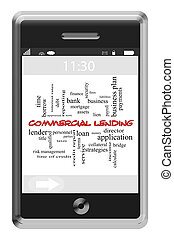 Commercial Lending Word Cloud Concept on Touchscreen Phone