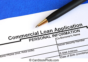 Complete the commercial loan application isolated on blue