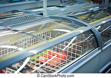 Commercial Refrigerator with Ice-Creams Inside. Cooling Storage - Refrigerator Horizontal Photo.