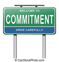 Illustration depicting a green and blue roadsign with a commitment concept. White background.