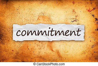 Commitment title on piece of crumpled old paper