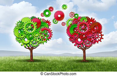 Communication exchange partnership and teamwork joining forces symbol as two growing trees shaped with gears and cogs as a business metaphor andn concept of network connections through technology transfer on a summer sky.