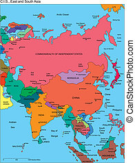 Commonwealth of Independent States, Russia, Asia and Southeast Asia Regional Map, with individual Countries, names. Countries are individual objects that can be colored and changed so you can build a regional territory map or develop an illustration. Great for building sales and marketing territory ...