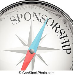 detailed illustration of a compass with sponsorship text, eps10 vector