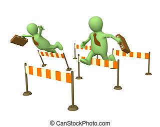 3d businessmans - puppets, jumping through a barriers