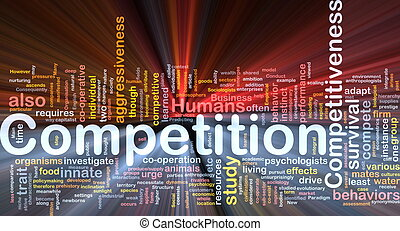 Background concept wordcloud illustration of competition glowing light