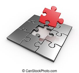 Completing last master piece red puzzle 3d rendered