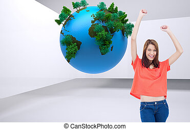 Composite image of teenage laughing while wearing casual clothes and raising her arms