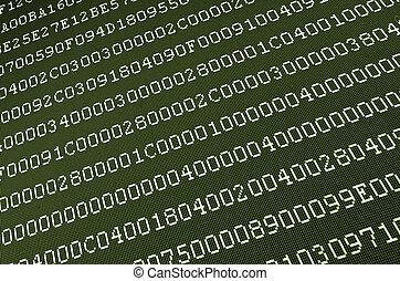 computer data on screen