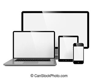 Computer, Laptop and Phone. Set of Computer Devices.