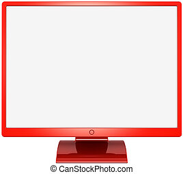Computer monitor colored red