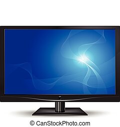 Computer monitor isolated on white background, vector illustration