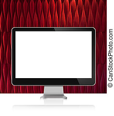 Computer Monitor on white table with red wall background