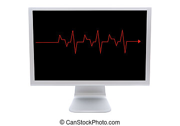 Computer monitor with a red line