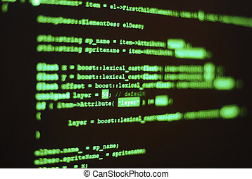 """Photo of computer screen with program code displayed in classic hacker color. Shallow depth of field places word """"lexical"""" in focus"""