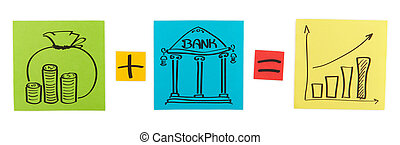 Concept of bank deposit. Colored paper sheets. Clipping path included.