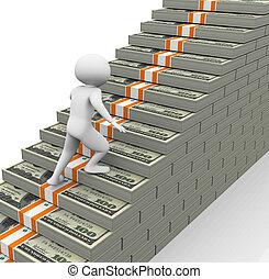 3d man running on dollar stairs
