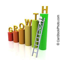 3d man climbing ladder of growth