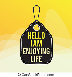 Conceptual hand writing showing Hello I Am Enjoying Life. Business photo showcasing Happy relaxed lifestyle Enjoy simple things Empty tag colorful background label rectangle attach string.