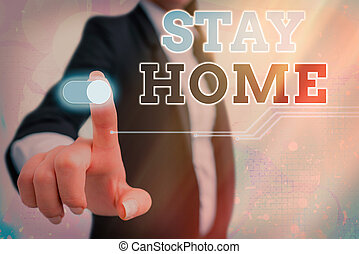 Conceptual hand writing showing Stay Home Save Lives. Business photo showcasing lessen the number of infected patients by not leaving the house Graphics padlock for web data security application system.