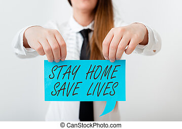 Conceptual hand writing showing Stay Home Save Lives. Business photo showcasing lessen the number of infected patients by not leaving the house Displaying different color notes for emphasizing content.