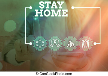 Conceptual hand writing showing Stay Home Save Lives. Business photo text lessen the number of infected patients by not leaving the house Information digital technology network infographic elements.
