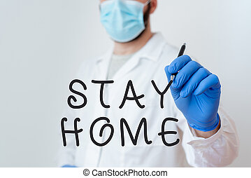 Conceptual hand writing showing Stay Home Save Lives. Business photo text lessen the number of infected patients by not leaving the house Laboratory Technician Featuring Sticker Paper Smartphone.