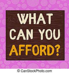 Conceptual hand writing showing What Can You Afford question. Business photo text Give us your budget availability of money Square rectangle unreal cartoon wood on the coloured wall.