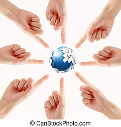Conceptual symbol of a green Earth globe with multiracial human hands