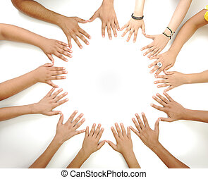 Conceptual symbol of multiracial children hands making a circle on white background with a copy space in the middle