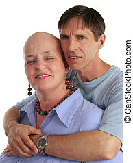 A woman being treated for cancer and her concerned husband.