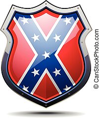 detailed illustration of a coat of arms with confederate flag, eps10 vector
