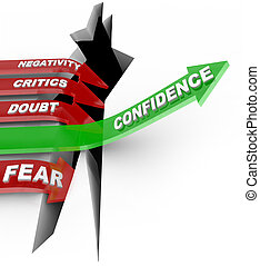 A green arrow marked Confidence rises above a chasm representing failure, while red arrows marked with negative influences such as Negativity, Critics, Doubt and Fear lead straight into the hole of despair