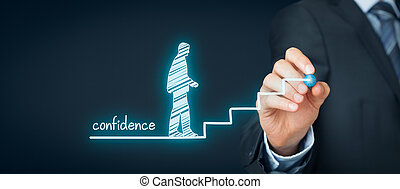 Confidence (self-confidence) improvement concept. Coach or mentor draws stairs as symbol of help to increase confidence.
