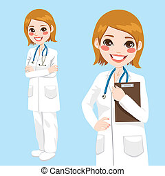 Beautiful friendly and confident woman doctor smiling holding clipboard and with arms crossed