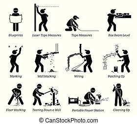Construction, Renovation, and House Improvement Icons.