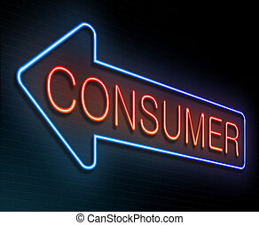 Illustration depicting an illuminated neon sign with a consumer concept.